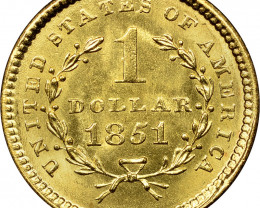 Collectors Replica 1851 One Dollar Gold  Coin  CP 417