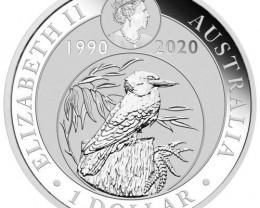 2020 ANNIVERSARY  AUSTRALIAN  KOOKABURRA ONE OUNCE 99.9 PURE SILVER