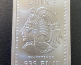 One Ounce Intricate detailed Aztec Bar .999 Bullion Silver