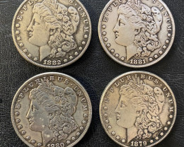 4 Pc Replica  Morgan Art Form Design   1879-1882    CP 620