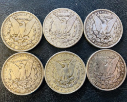 6 Pc Replica  Morgan Art Form Design   1883-84- 86-88    CP 624