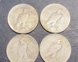 4 Pc Replica  Peace Dollar Art Form Design   1921-1925   CP700