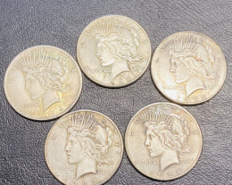 5Pc Replica  Peace Dollar Art Form Design   1922-1934    CP702