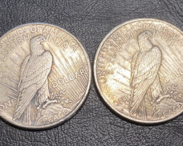 2 Pc Replica  Peace Dollar Art Form Design   1934-1935   CP704