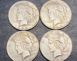 4 Pc Replica  Peace Dollar Art Form Design   1924-1935   CP705