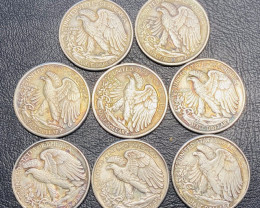 8 Pc Replica 1940 s  Walking Liberty half dollar  Art Form Design   CP 706