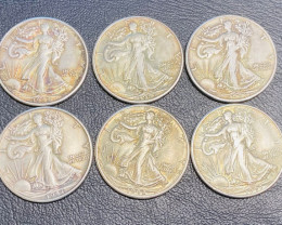 6 Pc Replica 1940 s  Walking Liberty half dollar  Art Form Design  CP 708