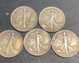 5 Pc Replica 1920 s  Walking Liberty half dollar  Art Form Design  CP 709