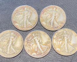 5 Pc Replica 1930 s  Walking Liberty half dollar  Art Form Design   CP 710