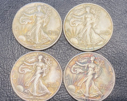 4 Pc Replica 1910 s  Walking Liberty half dollar  Art Form Design   CP 711