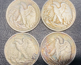 4 Pc Replica 1940 s  Walking Liberty half dollar  Art Form Design  CP713
