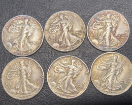 6 Pc Replica 1920 s  Walking Liberty half dollar  Art Form Design   CP 715