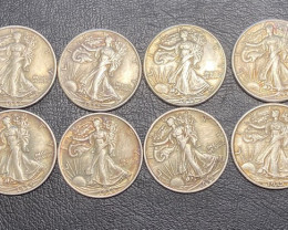 8 Pc Replica 1930 s  Walking Liberty half dollar  Art Form Design   CP 716