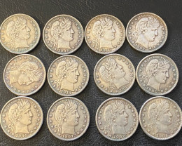 15  Pc Replica 1900 s  Barber Quarter Art Form Design   CP 717