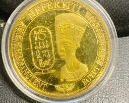 Nefertiti Ancient Egyptian Gold plated replica medallion