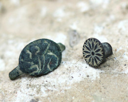 Holy Land Artifact 2 Pieces Bronze Relic 100-1600 AD -Code Ch 889