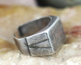 Holy Land Artifact 19th cent silver bedouin Ring  -Code Ch 895