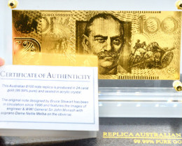 Certified 24 Carat Gold ( 99.99% Pure ) High Grade Australian Note
