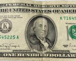 Star Notes  1990 series 100 Dollar Bill k71645225A