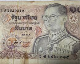 Thailand Banknote King Rama 9 Type 10 Baht. 1J2520319