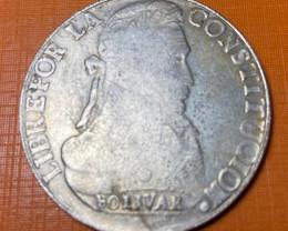 Bolivia 1835 LM Silver 8 Soles Nice Original TONED