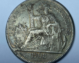 1908 French Indo China Silver Piastre