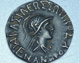 Meander Indo-Greek king silver  coin