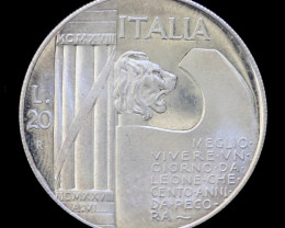 RARE PROOF ITALY 1928R 20 LIRA SILVER COIN CO 732