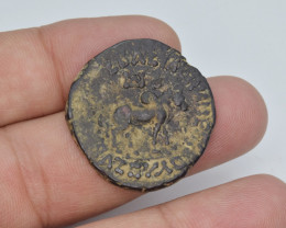 Bronze Coin INDO-SCYTHIAN: Azes II AE hexachalkon: Bull/Lion, Senior 102.11