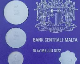 Very Rare - 1972 First Decimal Maltese Coin Royal Mint TRIALS