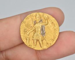 Ancient Gold Coin INDIA, Kushan Vasudeva I Gold dinar with 3-headed Siva. R