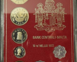 1972 MALTA DECIMAL COIN SET PROOF COPPER NICKEL ALUMINIUM