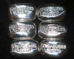 Six x 10 Grams Hand Poured Treasures Silver Bar 999 Pure Silver