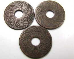 3x Old  Siam/Thailand Cooper/Bronze 1/2 Satang coin 1940 j82