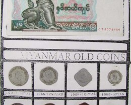 MYANMAR COIN COLECTION COINS AND NOTES  1975-1980 J 832