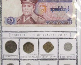 MYANMAR COIN COLECTION  8 COINS 4 NOTES 1966-1991 J 833
