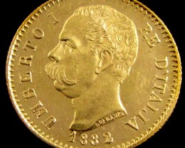 GOLD COIN ITALY 20 LIRA  1882 R    CO 818