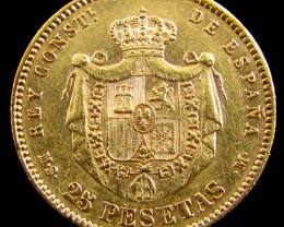GOLD COIN SPAIN 25 PESTAS 1884    KEY DATE  CO 819