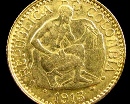 GOLD COIN  21/2 PESOS  1913 COLUMBIA CO 820