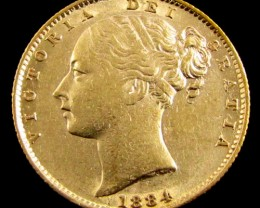 GOLD COIN  SOVERIGN  1884 SYDNEY  CO 824