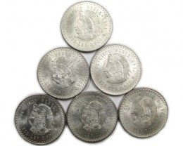 PARCEL 6 1948  MEXICAN .900 SILVER  COINS 5 PESO     CO868