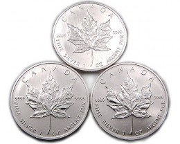 3 x UNC CANADIAN MAPLE SILVER 2006 COIN CO 881
