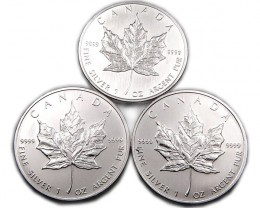 3 X UNC CANADIAN MAPLE SILVER 2007 COIN CO 890