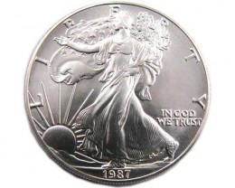 US Silver Eagle Silver One Ounce UNC 1987 Coin CO 894