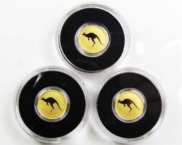 2010 Mini Roo 0.5g Gold Coin... Three Coins in parcel