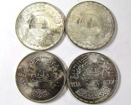 FOUR EGTPTIAN SILVER POUND 1970 NASSER COINS  CO 956