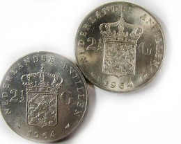 TWO 1964 2.5 GUILDEN 720 SILVER  COINS CO 962