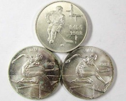 THREE SILVER FINLAND  50 MARKKAA COINS  1982-1983  CO 964