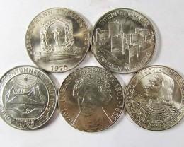 FIVE  .640 SILVER 100 SCHILLING COIN 1975 -79   CO 967