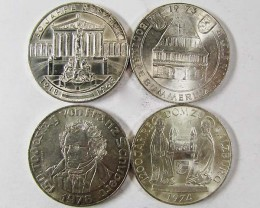FOUR .900 SILVER 50 SCHILLING COIN  1968-78  CO 9